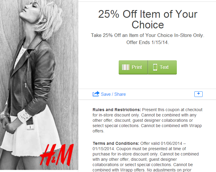 h m coupon in store