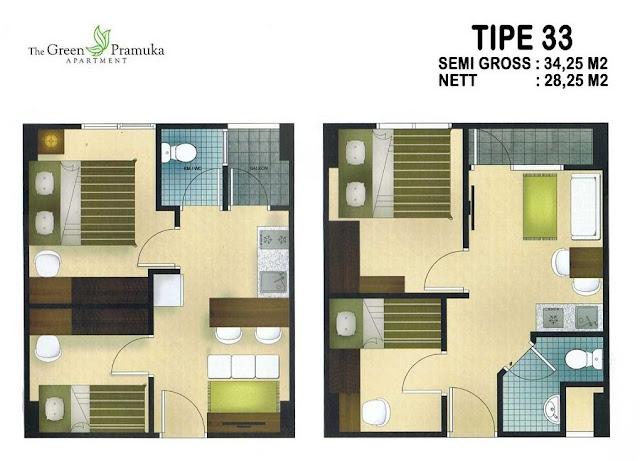 tipe 33 apartemen green pramuka city