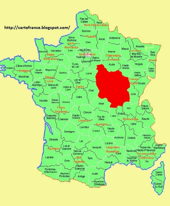 Carte Bourgogne Departement Ciudad | Carte France ...