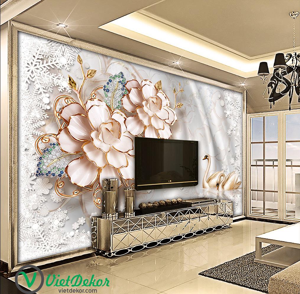 Tranh dán tường 3d hoa trang trí phòng khách