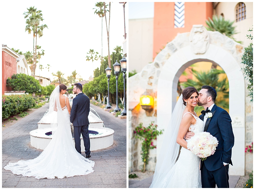 romantic bride and groom by fountain and spa at Omni Montelucia