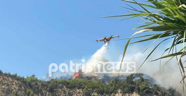 Πυρκαγιά στην Ηλεία - Απειλούνται χωριά της Αρχαίας Ολυμπίας (βίντεο)