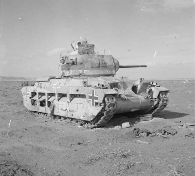 Captured British Matilda tank in North Africa, 3 January 1942 worldwartwo.filminspector.com