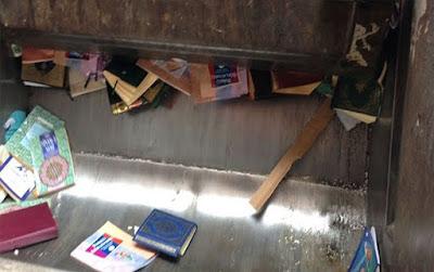 إحراق كتب تفسير القرآن الكريم بصناديق القمامة فى مدينة تركيا