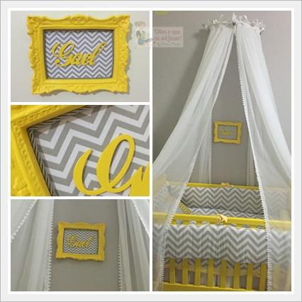 decoração quarto chevron cinza e branco e amarelo