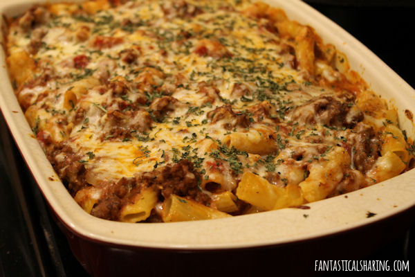 Baked Ziti #recipe #beef #tomato #pasta #cheese #maindish