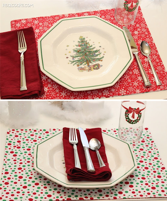 Cute sewing pattern to make DIY Reversible Christmas Placemats. Shows how to make reverisble placemats and has Fun Ideas for the Christmas table, too. | Patterns