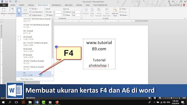 Cara menambahkan ukuran kertas F4 dan A6 di word + video