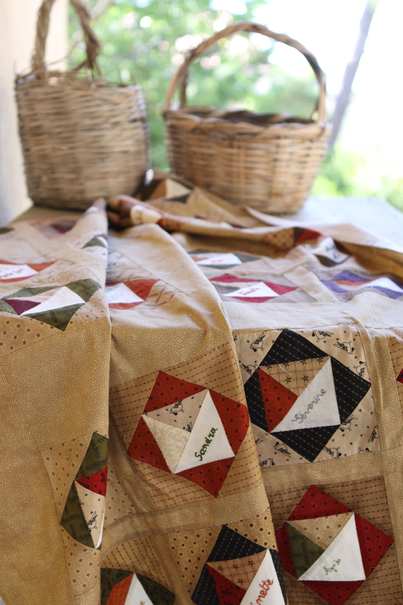 Quilt and two baskets