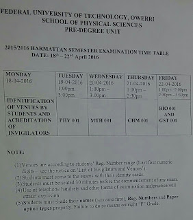 FUTO Timetable For First Semester Pre_degree Exam