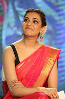 Kajal Aggarwal in Red Saree Sleeveless Black Blouse Choli at Santosham awards 2017 curtain raiser press meet 02.08.2017 067.JPG