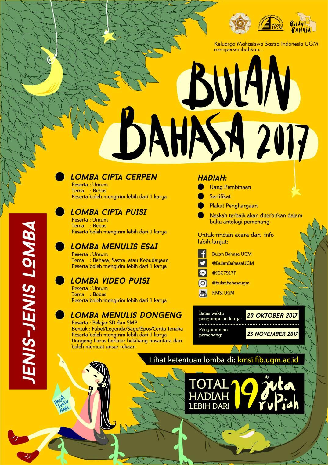 Lomba Cipta Puisi Bulan Bahasa 2017 | Univ. Gadjah Mada | Umum