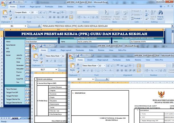 Aplikasi Penilaian Prestasi Kerja (PPK) Guru dan Kepala Sekolah Format Microsoft Excel
