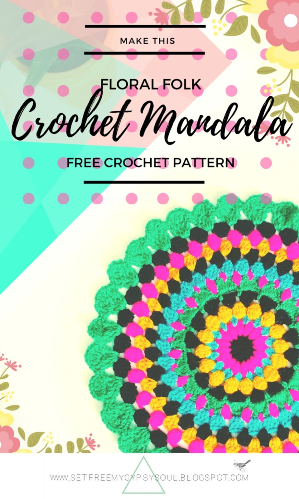 free crochet pattern bohemian bright colorful colour mandala folk floral