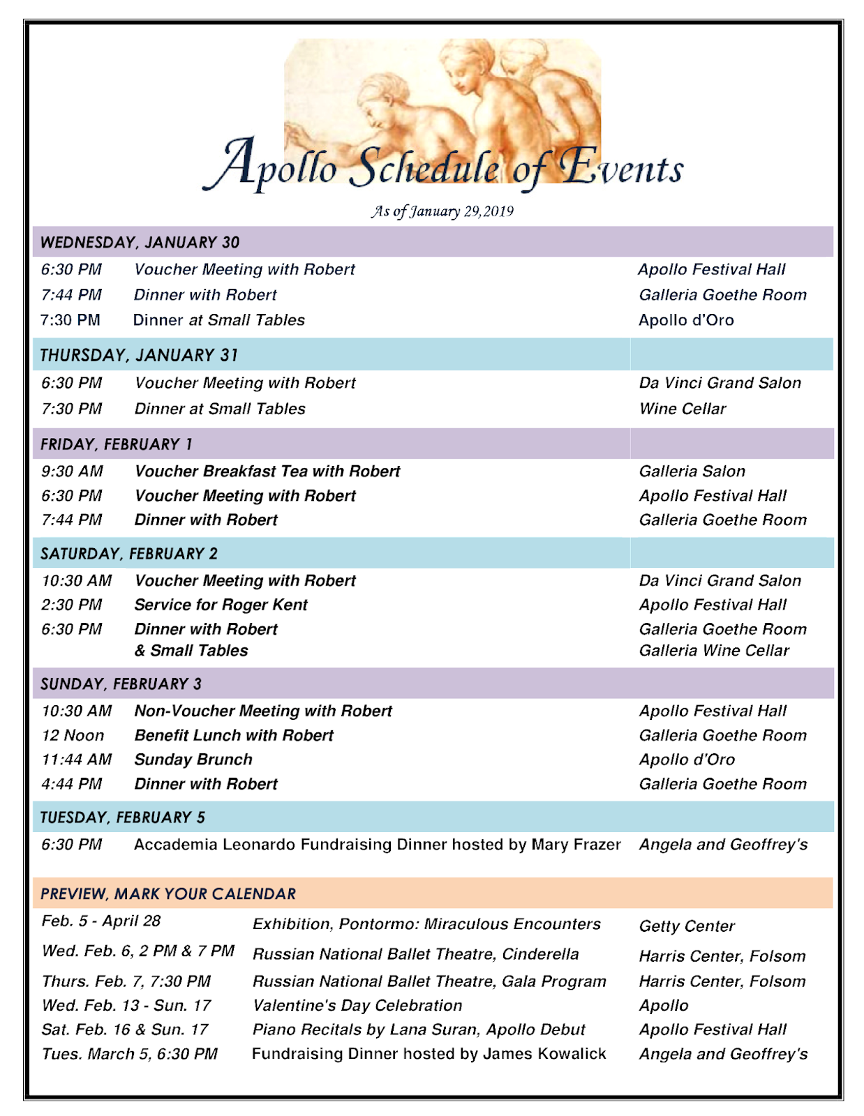 Robert Earl Burton's Fellowship of Friends cult fundraising Apollo Schedule of Events