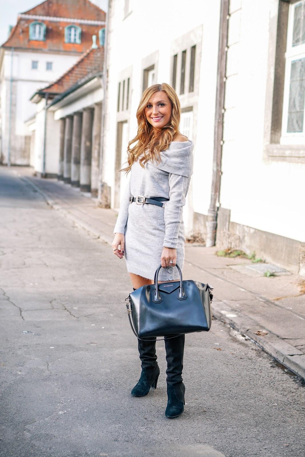 beiger-Zara-Mantel-wie-trage-ich-ein-graues-strickkleid-und-schwarze-overknees-fashionblogger-fashionstylebyjohanna