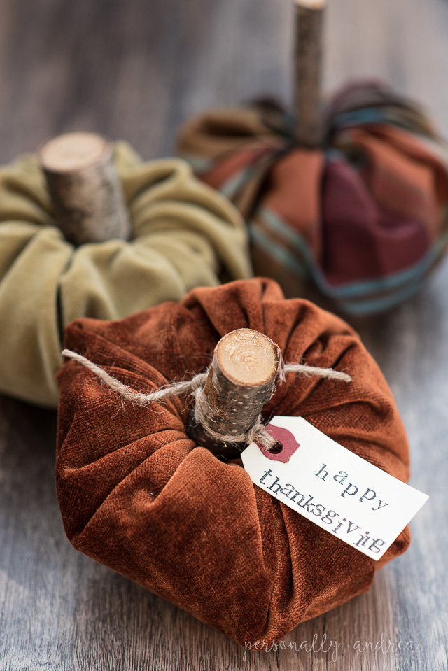 How to make a stuffed fabric mini pumpkin with a rustic glam vibe | personallyandrea.com