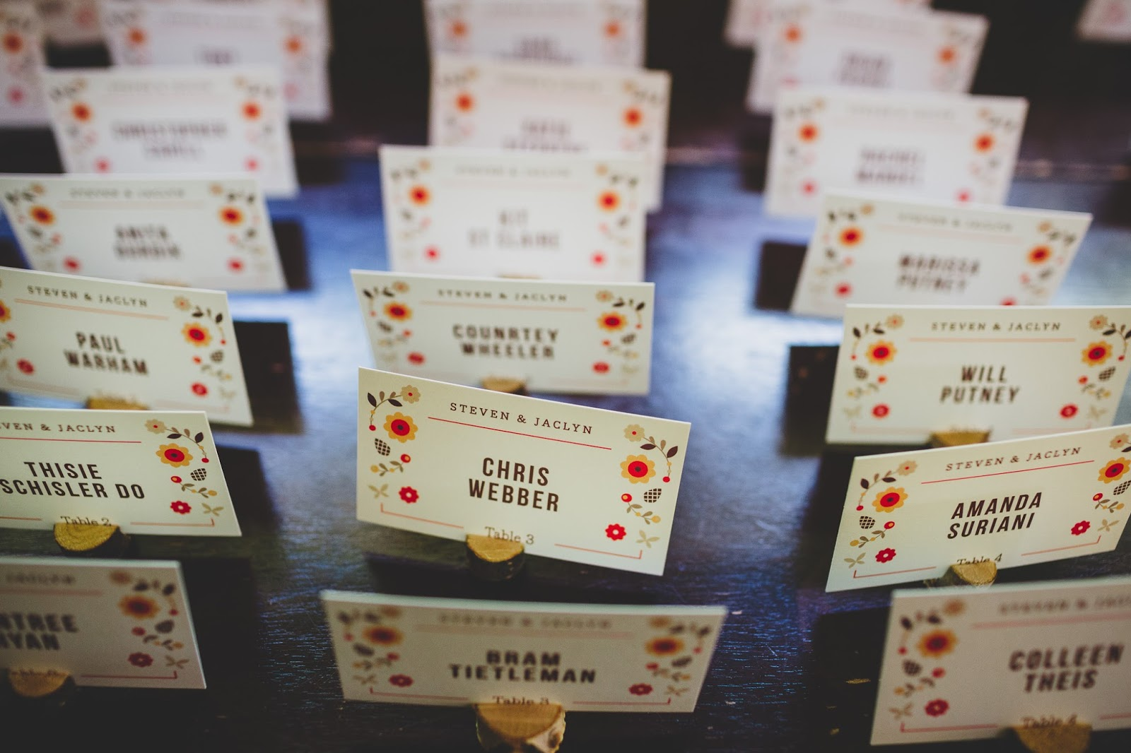 Rustic wedding placecards with flower illustration | blog.cassiecastellaw.com