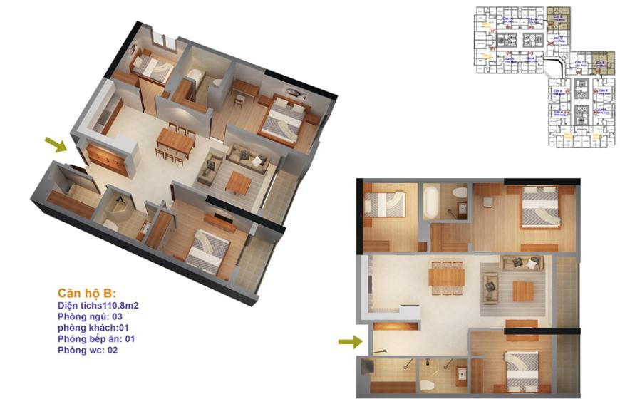 Mặt bằng căn hộ số 07-10 ruby 4- Goldmark City 136 Hồ Tùng Mậu