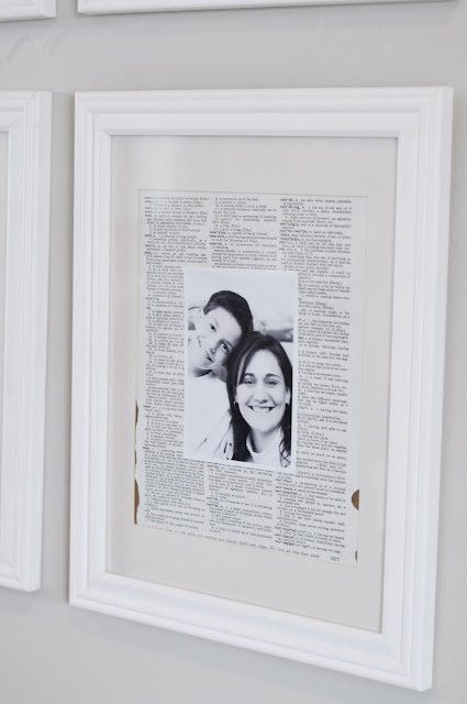 Create a vintage dictionary photo gallery wall with an old dictionary, black and white photos, and white frames from www.jengallacher.com. Includes tutorial photos. #gallerywall #photogrid #vintagedictionarypaper
