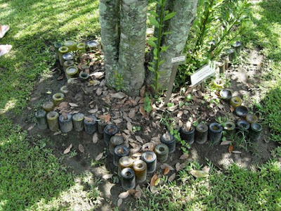 Botellas de vidrio en tu jardín
