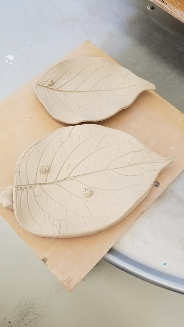 Ceramic plates from hydrangea leaf, nature-inspired pottery by Lily L.