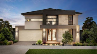 Modern house facade with outdoor patio