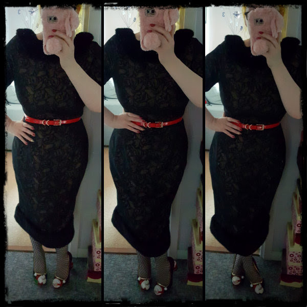 wearing jacquard wiggle dress with fur hem and collar
