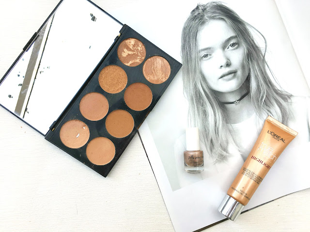 Loreal True Match Liquid Highligher, Loreal True Match Liquid Highligher in Golden Glow,  Makeup Revolution Bronze Palette, Jelly Pong Pong Glow Getter,