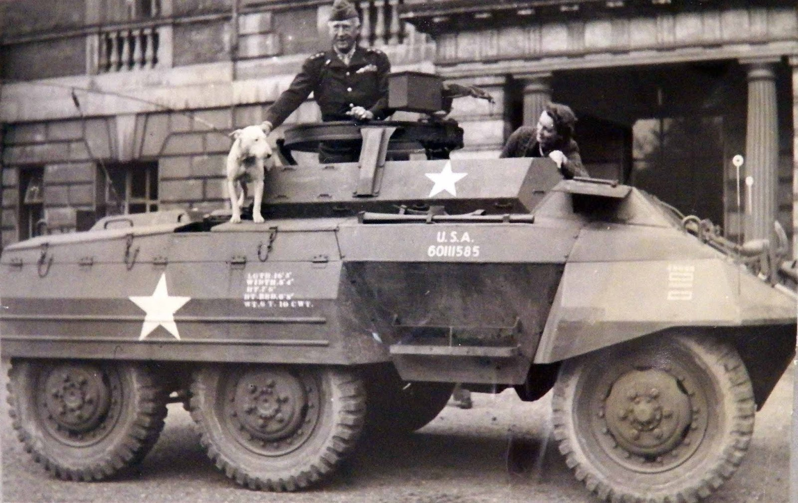 Patton on his M-20 in England with Willie.
