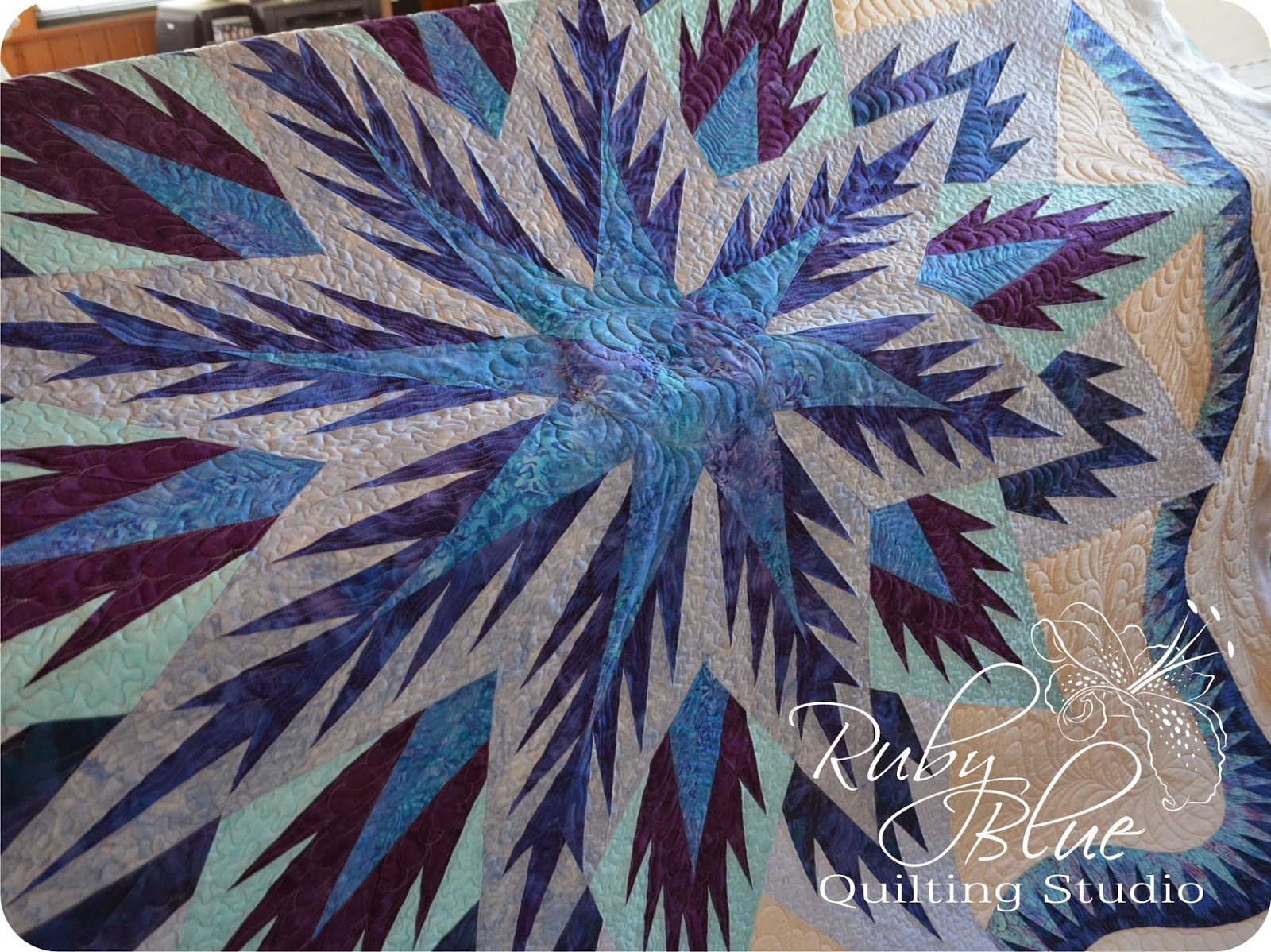 Ruby Blue Quilting Studio Machine Quilting Feathered