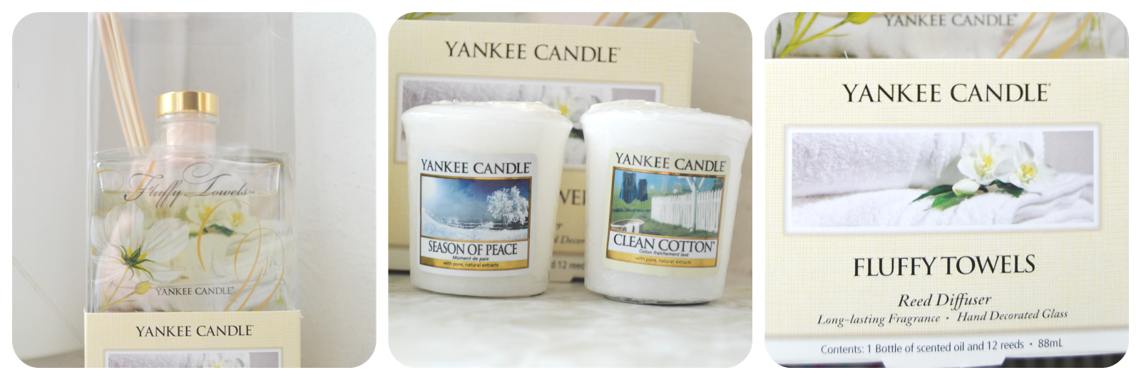 Yankee Candle Diffusor Votiv Candle Season Of Peace Clean Cotton