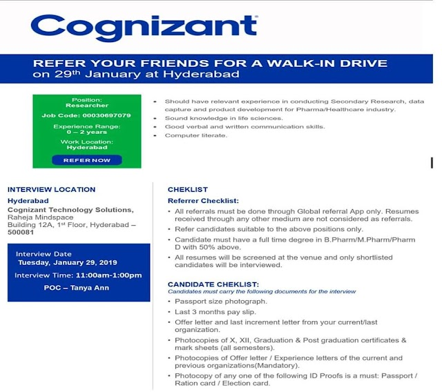 Walk-in for Researcher position in Cognizant