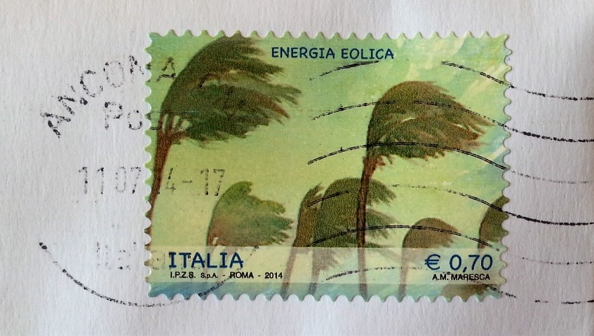 francobollo del 2014 dedicato all'energia eolica