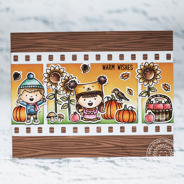 Sunny Studio Stamps: Happy Harvest Fall Kiddos Fall Flicks Filmstrip Fall Themed Warm Wishes Card by Lexa Levana
