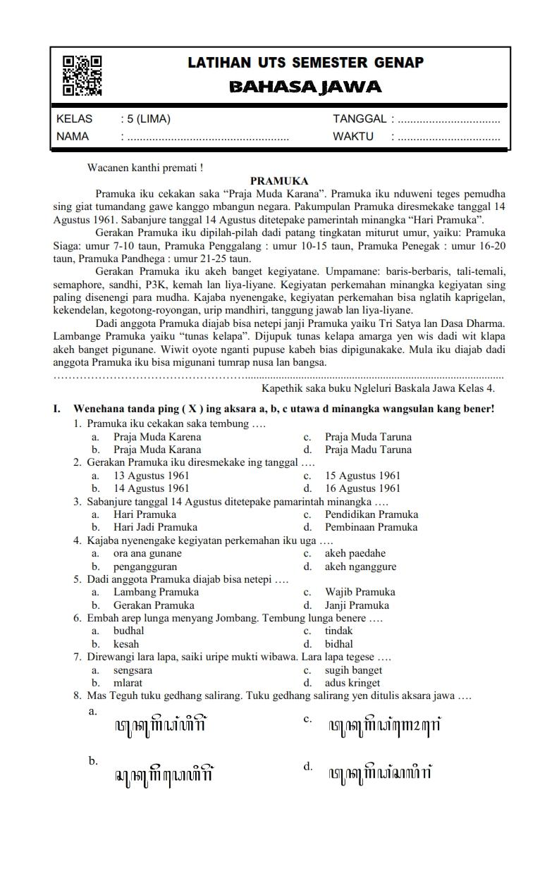Kunci Jawaban Bahasa Jawa Kelas 4 Guru Galeri