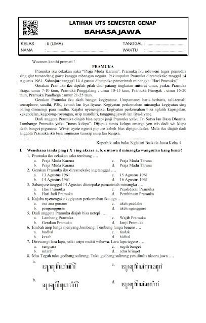 Download Soal Uts Genap Bahasa Jawa Kelas 5 Semester 2