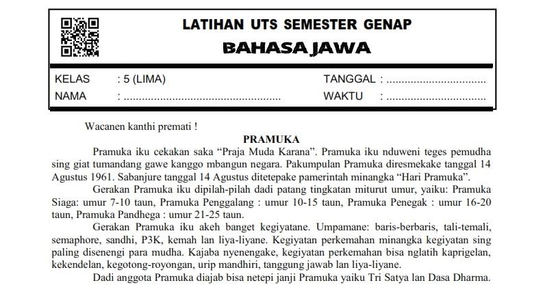 Download Soal Uts Genap Bahasa Jawa Kelas 5 Semester 2 Rief Awa Blog Download Kumpulan Soal