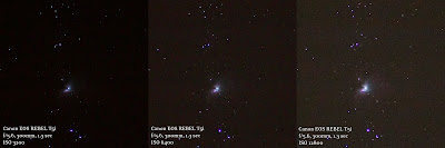 Orion Nebula (M42) shot at ISO 3200, 6400, and 12800
