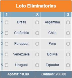 BETMOTION - GRADE ELIMINATÓRIAS CONMEBOL 01 - 11ª RODADA