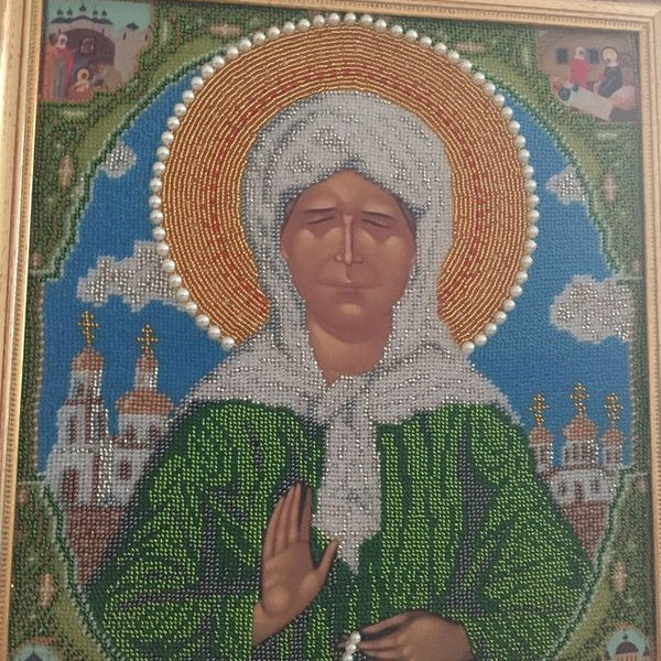 In-law Natalia Friske herself sewed for her icon Matrona that she prayed for the health of the sisters