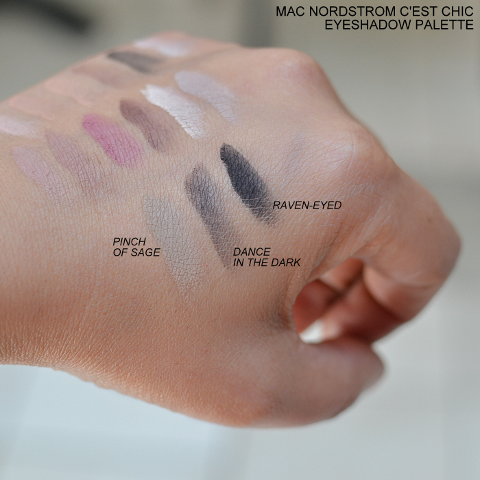 MAC Nordstrom Cest Chic Eyeshadow Palette Swatches Pinch of Sage Dance in the Dark RavenEyed