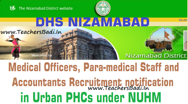 Nizamabad Medical Officer,ANM,Staff Nurse,Pharmacist,Lab Technician,Accountant Posts 2016