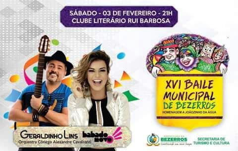 REGIÃO: Baile Municipal de Bezerros terá Babado Novo e Geraldinho Lins