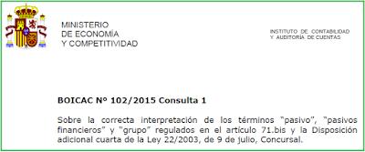 BOICAC 102 consulta 1 conceptos Ley Concursal