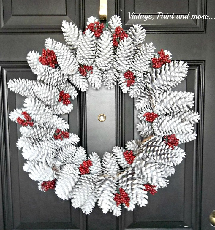 Vintage, Paint and more... a pine cone wreath painted white with red berries for Christmas