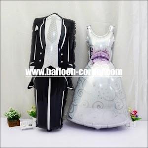1 Set Balon Foil Setelan Jas Celana & Gaun Pengantin (Ukuran Medium)