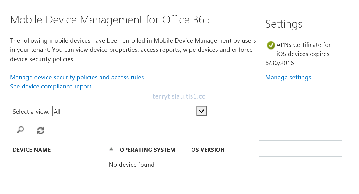 Terry L@u's blog: Migrate Office 365 Mobile Device Management to