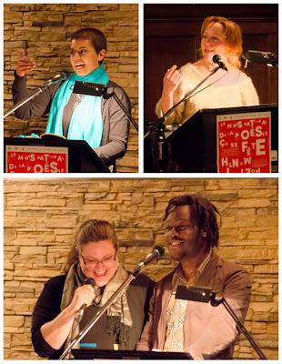Featured readers, Jenna Butler (Alberta), Nancy R. Lange,  Duckens Charitable, Éliz Robert (all Quebec).