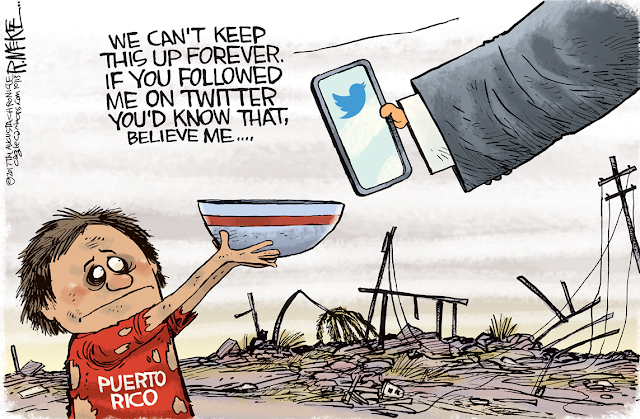 Donald Trump holding out smartphone with Twitter logo on screen to starving Puerto Rican child: